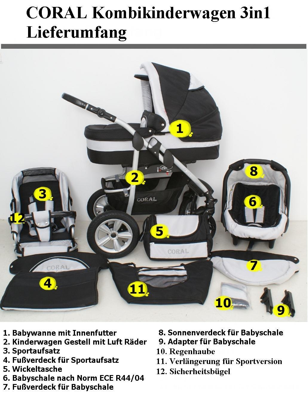 coral kombikinderwagen kinderwagen set babyschale. Black Bedroom Furniture Sets. Home Design Ideas