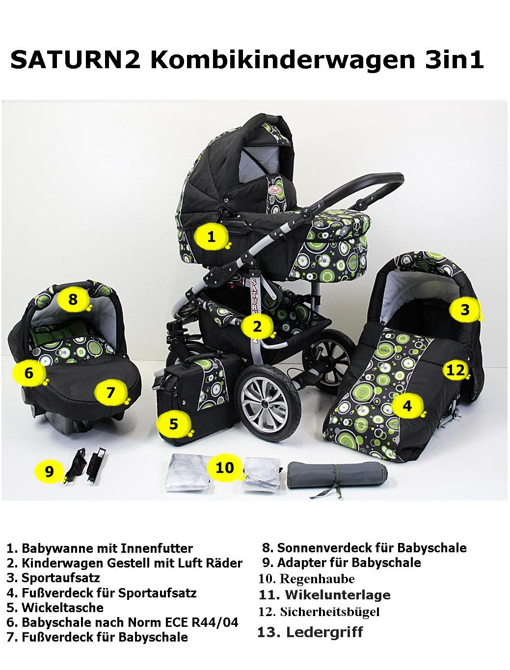 saturn2 kombikinderwagen kinderwagen 3in1 mit babyschale poussette pram autositz ebay. Black Bedroom Furniture Sets. Home Design Ideas
