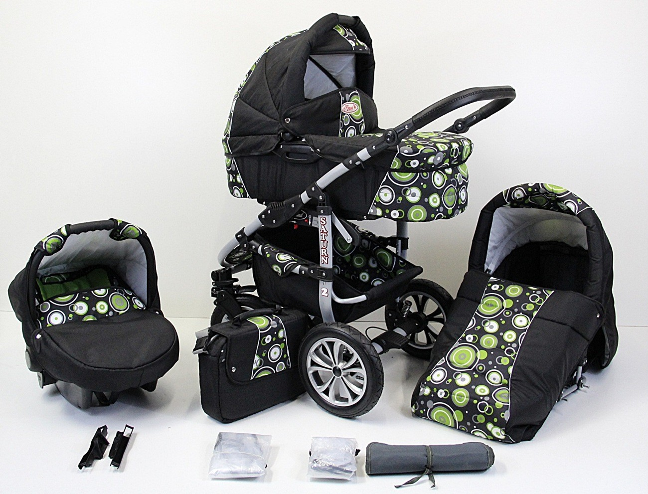 saturn2 kinderwagen 3in1 mit babyschale kombikinderwagen poussette pram neu ebay. Black Bedroom Furniture Sets. Home Design Ideas