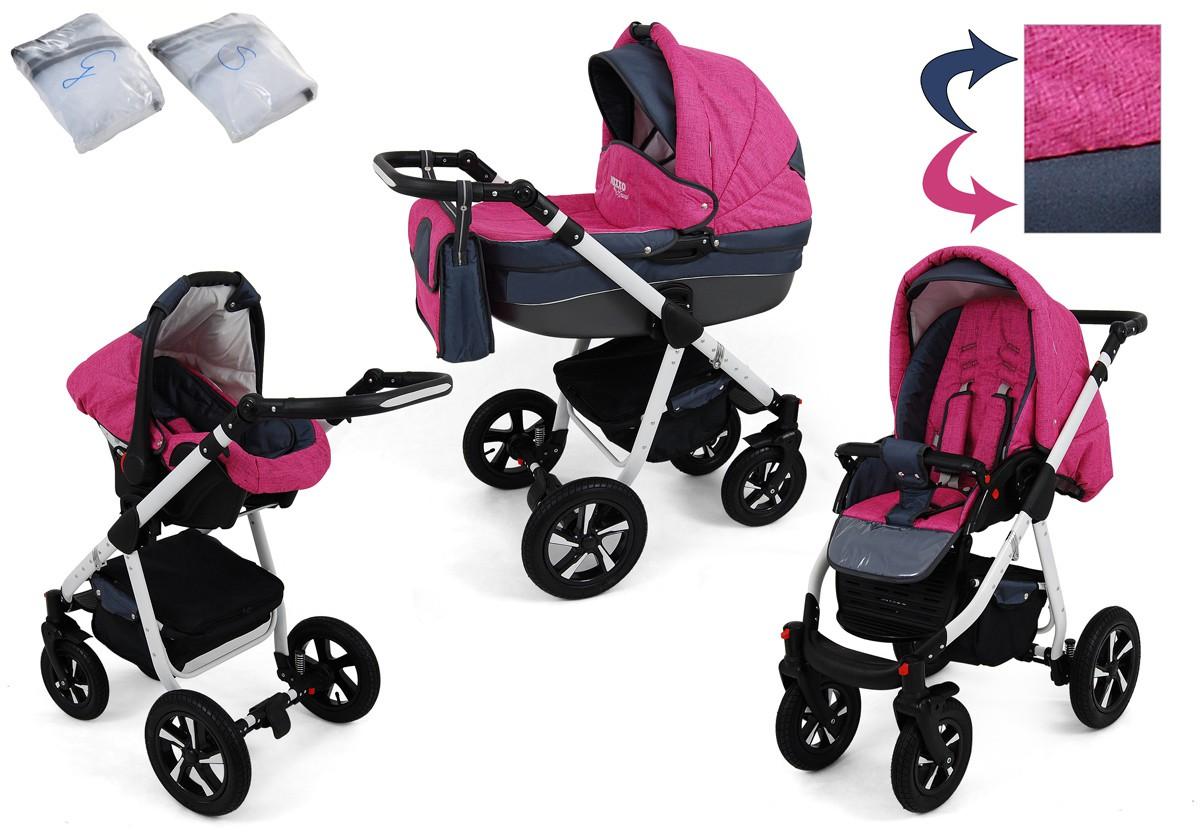 Nexxo Kombikinderwagen 3in1 mit Kunststoffschale und Babyschale für Isofix