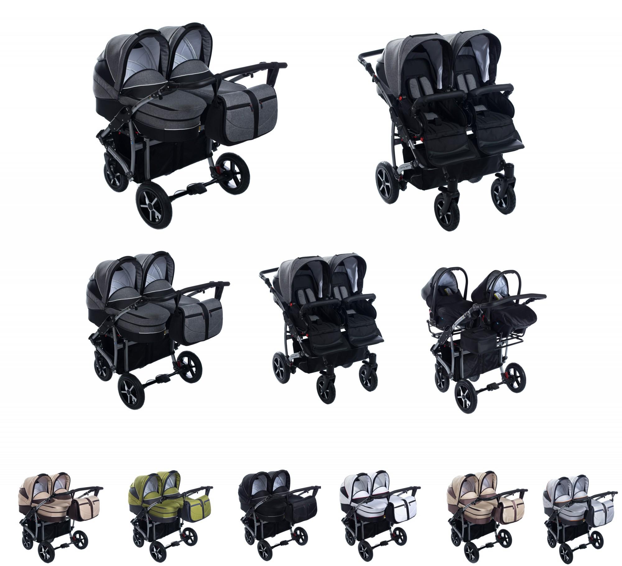 zwillingskinderwagen mit oder ohne babyschalen kombikinderwagen. Black Bedroom Furniture Sets. Home Design Ideas