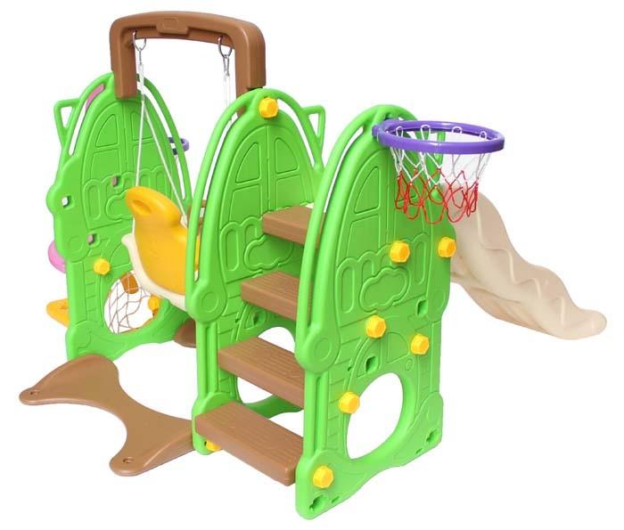 clamaro rutsche mit schaukel 2 basketballk rben und. Black Bedroom Furniture Sets. Home Design Ideas