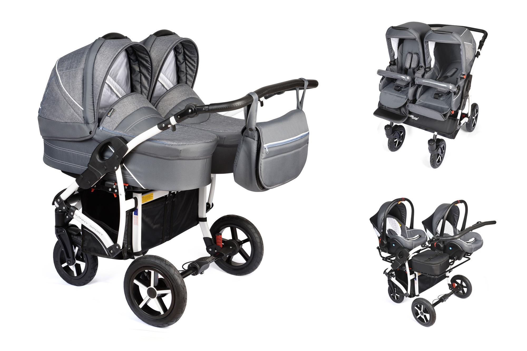 Zwillingskinderwagen mit babyschale  Zwillingskinderwagen 3-1 mit Babyschale in L-40, Duowagen ...